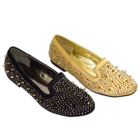 black loafers with gold studs gold or black slip on satin flat stud pumps womens