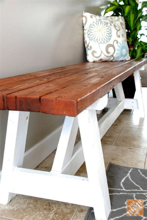 bench project diy project farmhouse bench the home depot rachael edwards