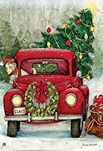 red christmas vintage pick ups for sale bringing the tree home in the truck 28 quot x 40 quot outdoor house flag