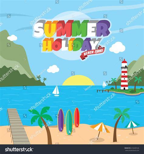 cartoon themes vector summer holiday retro cartoon theme vector stock vector