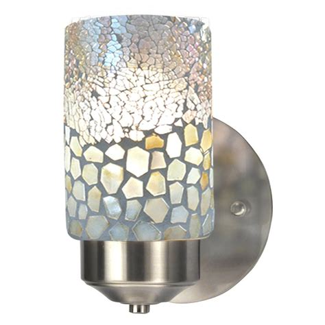 Mosaic Wall Sconce Springdale Lighting Alps 1 Light Brushed Nickel Mosaic Wall Sconce Tw13018 The Home Depot