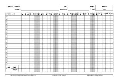 sample attendance sheet template