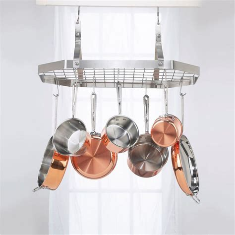 Hanging Pot And Pan Rack With Lights Cuisinart Octagonal Hanging Cookware Rack Crc29b The