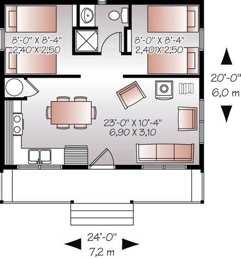 small house blueprint 20x24 floor plan w 2 bedrooms floor plans pinterest