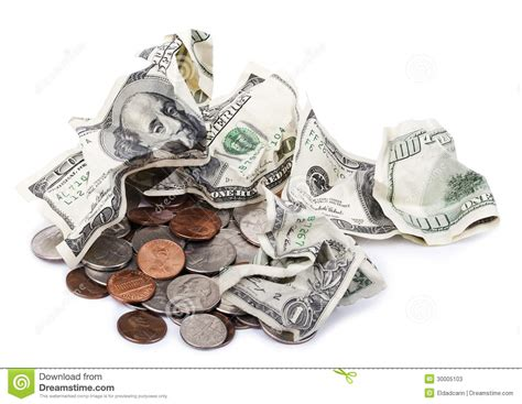 Change Gift Card To Cash - crumpled cash change stock photos image 30005103