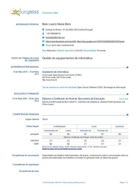 Modelo Europass Curriculum Vitae Portugues Europass Cv Exle Laurio Belo