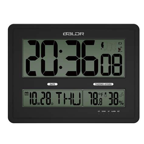 funk wanduhr digital groß baldr jumbo lcd digital wall clock calendar measuring