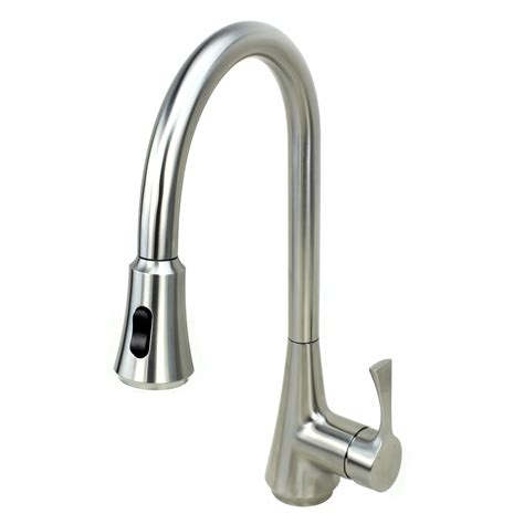 solid stainless steel single handle kitchen faucet with pull out sprayer head ebay ariel solid stainless steel lead free single handle pull