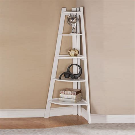 lovely modern sleek finish white corner shelf bookcase