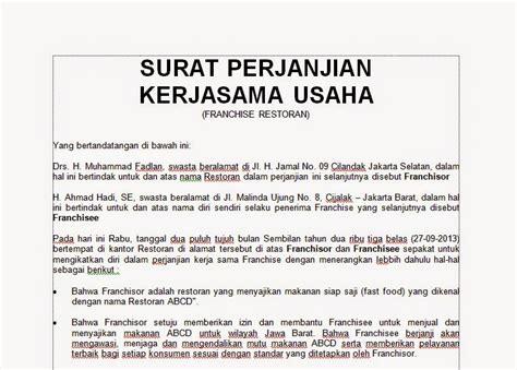 contoh surat perjanjian kerjasama usaha bisnis