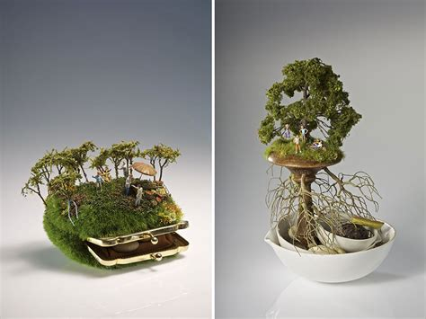 miniature in miniature landscapes sculpted on household objects by