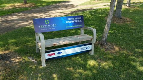 golf bench golf course advertising flowing springs golf greens
