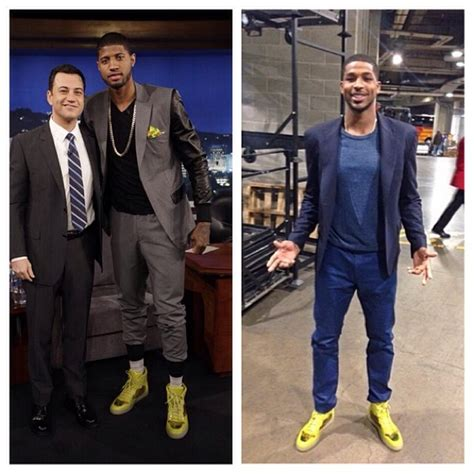 fashion for paul george part in hair yellow shoes outfit men