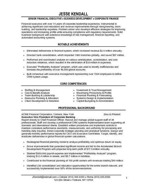 Resume Vice President It Exle Financial Vice President Resume Free Sle
