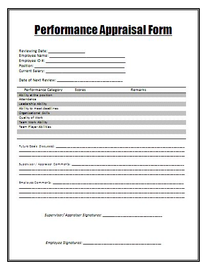 performance appraisal template free word templates