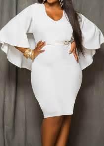 white v neck cloak design dress rosewe com
