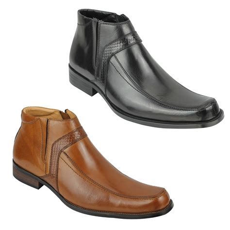 mens casual boots uk mens real leather ankle boots zip formal work casual shoes