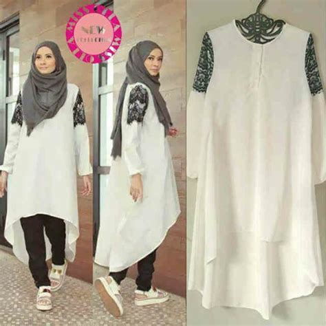Pakaian Atasan Muslim Wanita Dress Boxy Combi Sweater Premium jual blouse wanita lengan panjang warna putih polos
