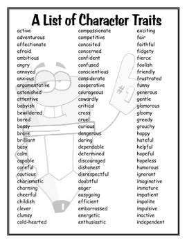 Character Traits Letter V A List Of Character Traits By Mrs R Teachers Pay Teachers