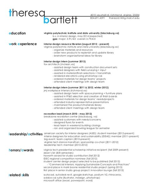 design student cv exles resume work sle theresa bartlett