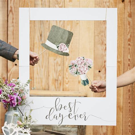 giant photo booth frame wedding decoration by ginger ray