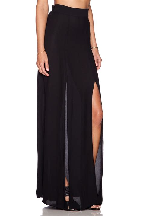 l agence slit maxi skirt in black lyst