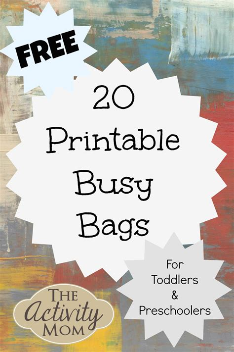 printable toddler busy bags ps on pinterest preschool lesson plans preschool and