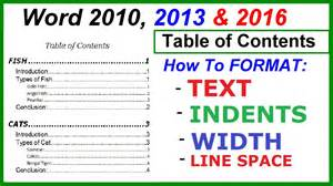 Table Of Contents Word 2013 Template by Word 2016 2013 2010 Table Of Contents Format Text
