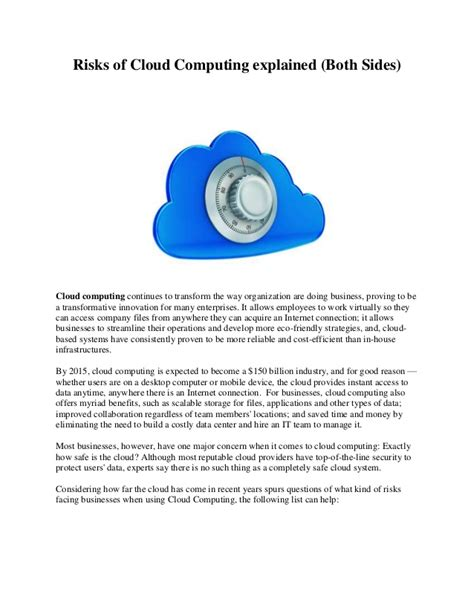 risks of cloud computing explained both sides