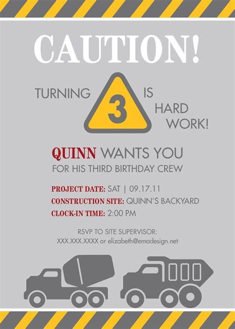 construction themed birthday invitations 213 best construction party images on pinterest birthday