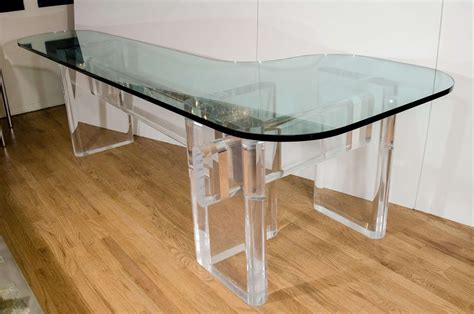 L Shaped Glass Desks Custom Made Quot L Quot Shaped Lucite And Glass Desk By Karl Springer At 1stdibs