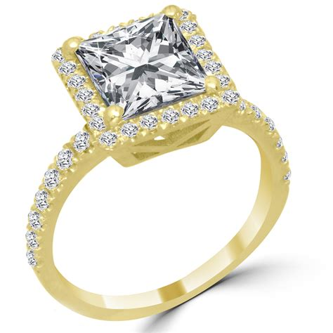 3 46 ct princess cut engagement ring vs2 g 14k