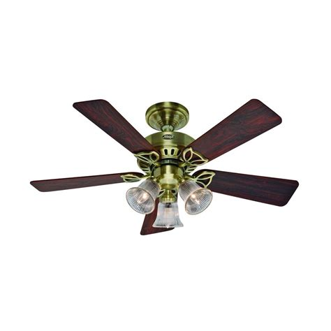 brass ceiling fan with light hunter fan company the beacon hill antique brass ceiling