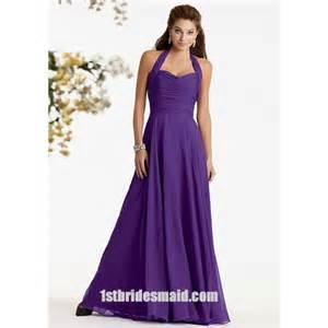halter top chiffon ruched purple long bridesmaid dresses