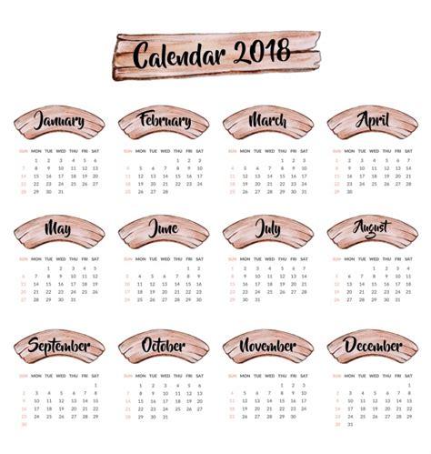 Calendar 2018 Design Calendar 2018 Wooden Design Vector Free