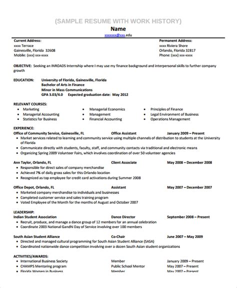 Work History Resume Sle Work History Template 9 Free Documents
