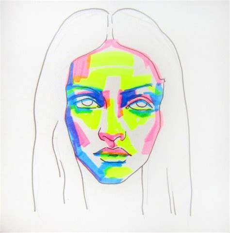 sketch portrait  text highlighter markers