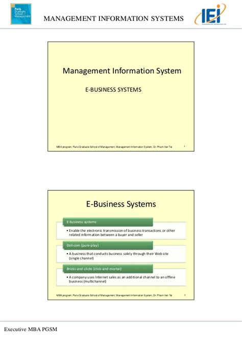 Mba Information Systems Management Syllabus by Topic 3 E Commerce And E Business