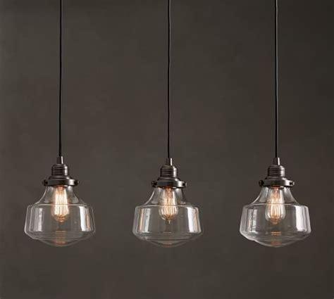 3 Light Pendant Fixture Pb Classic Schoolhouse Glass 3 Light Pendant Pottery Barn