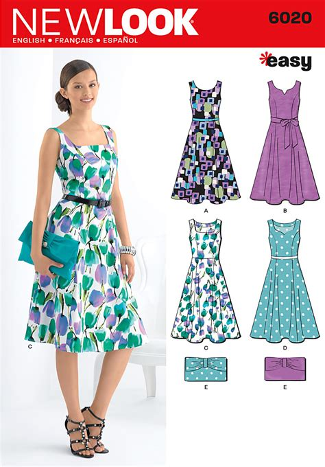 pattern design dressmaking new look 6020 misses dresses purse