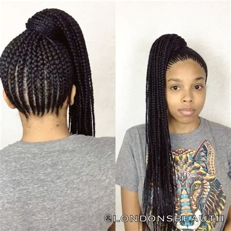 african braids in a ponytail with the saga least with that then nicki minaj inspired cornrows done by london s beautii in