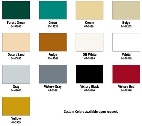 color chart available colors victory industrial products llc