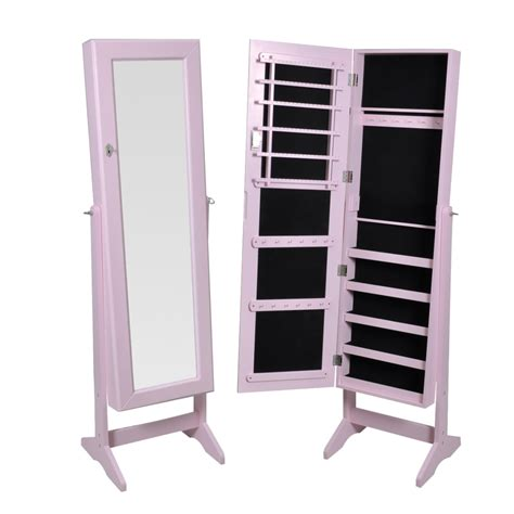 free standing jewelry armoire with mirror rose pink free standing jewelry cabinet with mirror