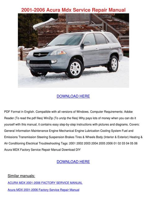 2001 2006 acura mdx service repair manual by feliciadailey issuu