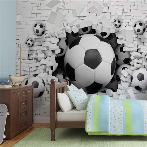 football wall murals for wall mural football through the wall photo wallpaper 3383dc ebay