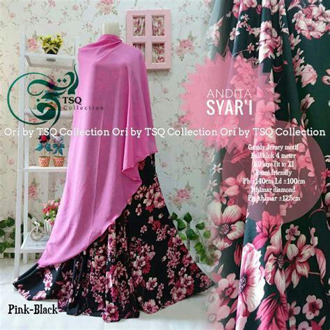 baju gamis andita syar i motif bunga cantik busana muslim