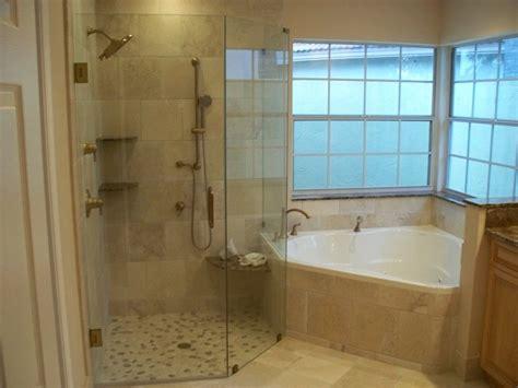 interior white corner bathtub connected  glass shower room  glass window modern design