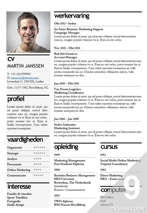 Cv Sjabloon Maken In Word cv sjabloon 9