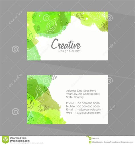sided comp card interactive template shiny business or visiting card set stock illustration