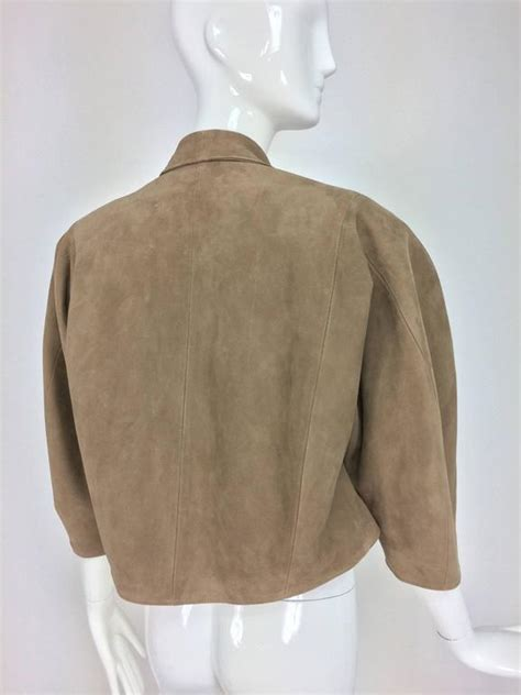 cropped swing jacket jean claude jitrois taupe suede cropped swing jacket 1980s